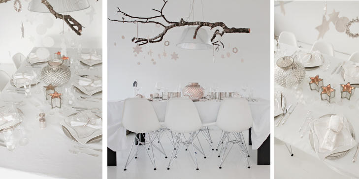 HVITE DR�MMER: Tonje Kyte har dekket nytt�rsbordet sitt i hvitt og s�lv - et bord det str�ler av. FOTO: Tonje Kyte/foreverlovecom.blogspot.com