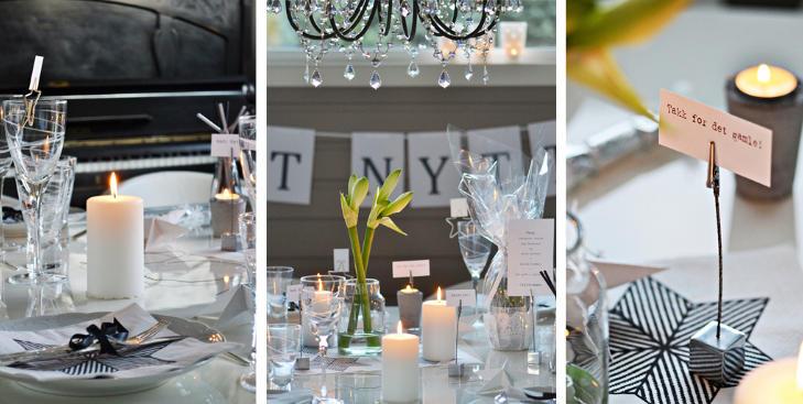 SI DET MED ORD: May Helen Kro dekker nytt�rsbordet med fine ord og farger i sort/hvitt. FOTO: May Helen Kro/kronprinsessene.blogspot.com