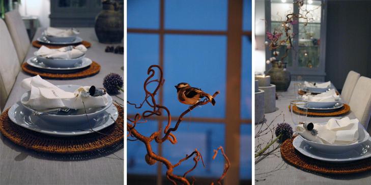 NATUR: Anette Willemine bruker bl�toner, kvister og sm�fugler for � gj�re nytt�rsbordet stemningsfullt. FOTO: Anette Willemine Solheim/anettewillemine.blogspot.com