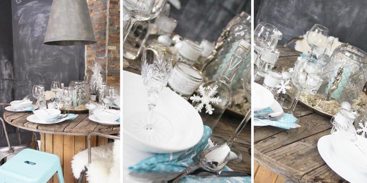 R� RUSTIKK: Amalie har dekket til fest p� sitt r�ffe kj�kkenbord. Pynten er i sarte hvit- og bl�toner. Resultatet? En vakker fusjon mellom industri og nostalgi. FOTO: Amalie Fagerli/svenngaarden.blogspot.com