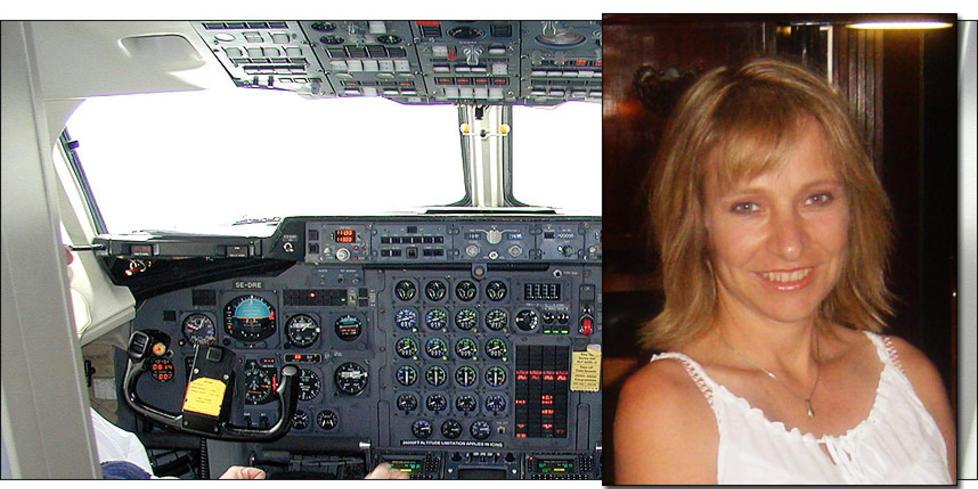 BAE 146: Flytypen BAe 146 har store problemer med forurenset luft i kabin og cockpit. Susan Michaelis (49) fl�y denne flytypen, og har n� skader hun mener skyldes gifteksponering i fly. Foto: HAVARIKOMMISJONEN I SVERIGE/PRIVAT
