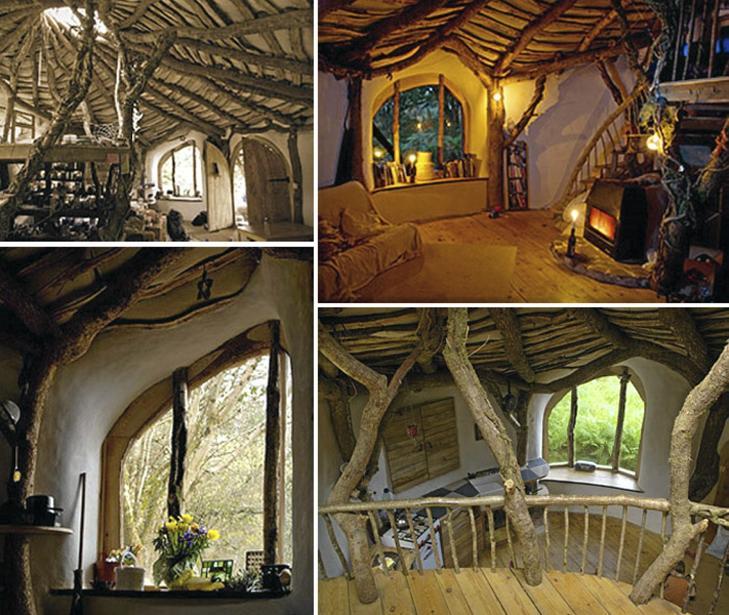 RUSTIKT: I en slik bolig burde det være store sjanser for å føle seg i ett med naturen. Foto: unusual-architecture.com