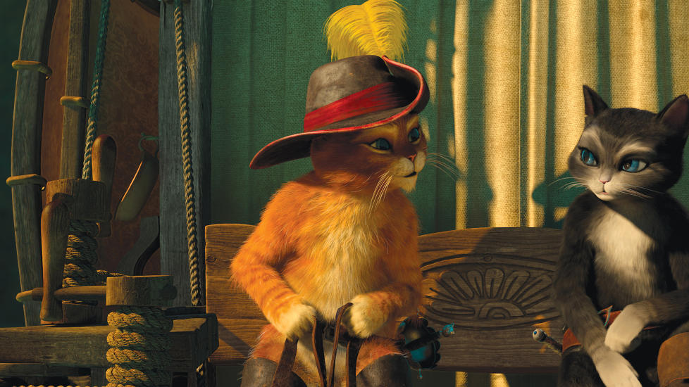MYKE FØLELSER: Pus i støvler deler flere romantiske scener med Kitty Silkepot i filmen som bærer hans navn.