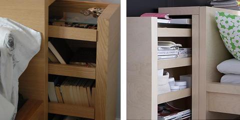 GJENNOMTENKT: Hodegavlen i Malm-serien fra Ikea har smarte hyller som kan trekkes ut. Foto: Ikea