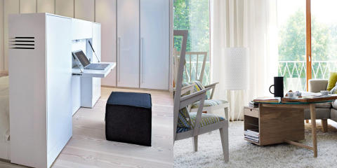 TENK OPPBEVARING: Denne smarte boksen fungerer både som hodegjerde på senga og hjemmekontor, og skjuler både kabler og kontorrekvisita. Foto: Sveinung Bråthen og Norrgavel