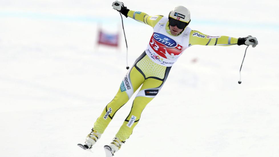 IMPONERTE: Kjetil Jansrud endte på 7.-plass og gjennomførte sitt beste utforrenn noen gang i verdenscupen i Sotsji lørdag. Sveitseren Beat Feuz vant i løypa der OL-utforen kjøres om to år. Foto: Scanpix