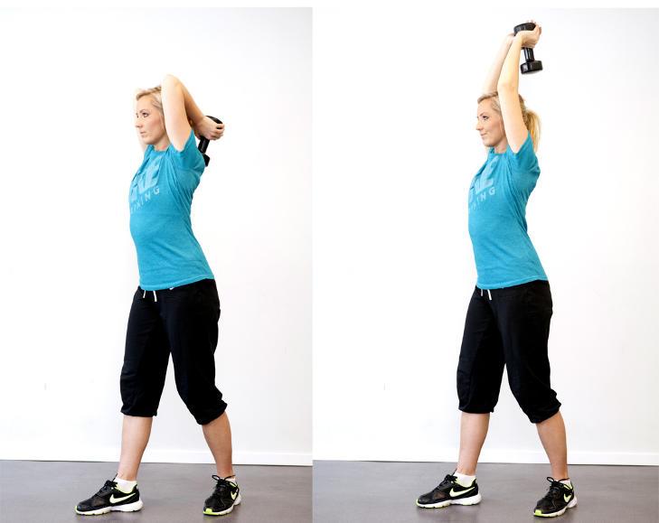 TRISEPSPRESS: Hold en vekt med strake armer over hodet. B�y albueleddet   og senk vekten ned bak ryggen og strekk opp igjen. Trener baksiden av overarm, ogs� kalt triseps.Foto: Elisabeth Sperre Alnes