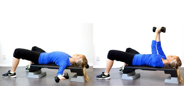 FLYES: Ligg p� en benk eller step. Ha en liten b�y i albue-leddet. F�r armene rolig ut fra kroppen og ned mot bakken.  Jo lenger ned jo bedre, dette avhenger av erfaring, samt bevegelighet i bryst. Trener fleksibilitet og styrke i bryst. Foto: Elisabeth Sperre Alnes KJ�RLIGHETSH�NDTAK Fett rundt midjen legger seg like lett bak som forran. Husk at kondisjonstrening og kosthold ogs� spiller en rolle her. Disse �velsene er ogs� utmerket for deg som vil f� en mer markert rygg.