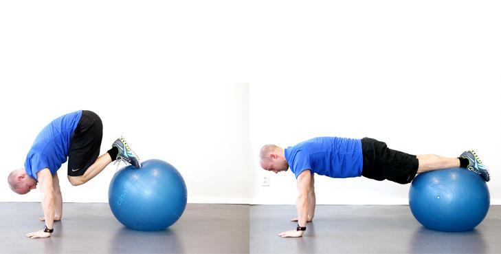 PIKE: Stram magen og dra ballen mot deg med beina. N�r den er n�rme kroppen fortsetter beina oppover til du er i posisjonen som vist p� bildet. Kan ogs� gj�res i slynge. Ikke svai   for mye i ryggen. Trener mage og bukmusklatur, samt stabiliserende muskler ved skuldrene. Foto: Elisabeth Sperre Alnes