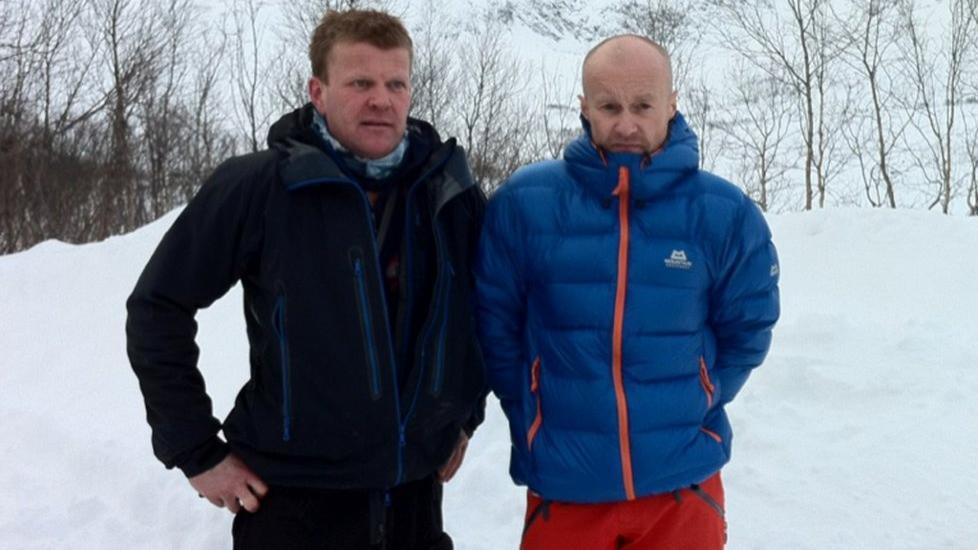 SNUDDE: Knut Robertsen og Bj�rn Gunnar Jensen var bare 300 meter fra stedet der sn�skredet gikk. Kameratene snudde da de forstod at det var stor sn�skredfare i omr�det. Foto: Ragnhild Gustad / Nordlys