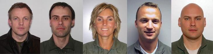 DE SAVNEDE: Oberstl�ytnant Truls Audun �rpen (46), kaptein St�le Garberg (42), kaptein Bj�rn Yngvar Haug (40), kaptein Siw Robertsen (45) og kaptein Steinar Utne (35).