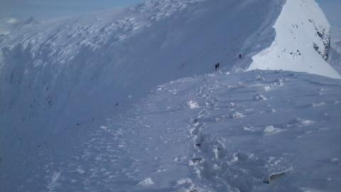 LETER ETTER SVAR: Bildet viser norske spesialstyrker som leter p� Kebnekaise etter vrakrester og spor etter de fem savnede. Foto: Forsvaret