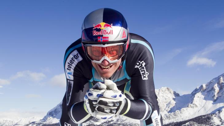 SPONSES AV RED BULL: Alpinist Aksel Lund Svindal. Foto: Heiko Junge / Scanpix