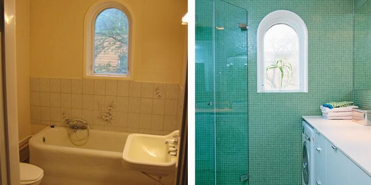 GRØNN MOSAIKK: Slik ble badet etter at det ble utstyrt med grønne mosaikkfliser 2x2 cm. Badekaret er fjernet og gjestebadet har fått dusj i stedet. Vaskemaskinen er plassert arbeidsbenken. Mosaikkfliser Trend fra Vitreo, Fagflis. FOTO: Espen Grønli
