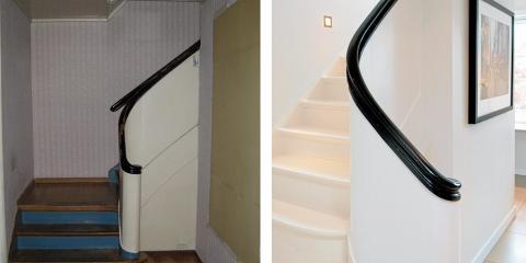 ELEGANSE: Det opprinnelige trappegelenderet har fått flere strøk høyglansmaling. Før var det lukket, men nå er veggen til høyre på før-bildet fjernet slik at hallen er åpnet opp. FOTO: Espen Grønli