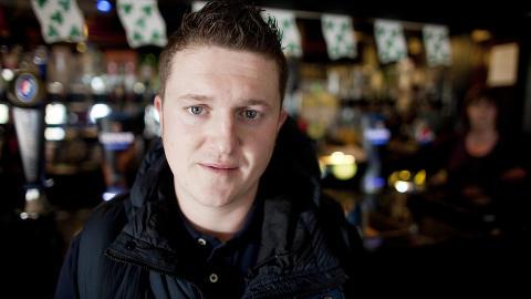 I STAMPUBEN: Tommy Robinsons irske r�tter kommer fram n�r EDL feirer St. Patrick's Day. Foto: Espen R�st / Dagbladet