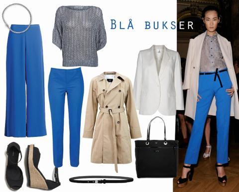 BLÅTT: Modellen i freshe blå bukser gikk visningen til Roland Mouret denne sesongen. Vide blå bukser fra H&M, kr 299, smale bukser fra Gina Tricot, kr 299, svarte sandaler med kilehæl fra Lindex, kr 249, trenchcoat fra Bruuns Bazaar, kr 3199, grå genser fra Soaked, kr 599, hvit blazer fra Day Birger et Mikkelsen, kr 2799, sølvarmbånd fra Bottega Veneta/Net-a-porter.com, kr 2000, svart belte fra Part Two, kr 399, svart veske fra Anya Hindmarch/Net-a-porter.com, kr 4450. Foto: James Cochrane/Kim Arnold Weston og produsentene