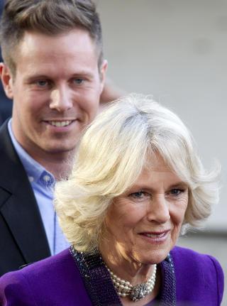 AUF-LEDEREN:  AUF-leder Eskil Pedersen møtte hertuginnen av Cornwall, Camilla, i dag. Foto: Erlend Aas / Scanpix