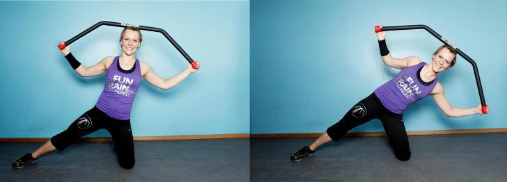 Knest�ende Dips: St� p� ett kne og strekk det andre benet ut til siden. B�y kroppen over til siden, vekk fra det strake beinet, slik at kroppen danner en diagonal linje. Trekk opp til utgangsstilling, men stopp litt f�r du er helt oppreist slik at musklene hele tiden m� jobbe. Pass p� at du har et strakt hofteledd. Trener kjernemuskler ved midjen. Foto Kristin Svorte/ Dagbladet