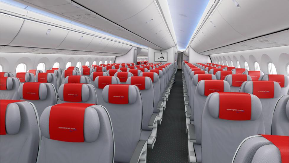 DREAMLINER: Dette er slik Norwegians Dreamlinere kommer til � se ut p� innsiden, og det er f�rste gang selskapet viser hvordan flyene vil se ut i Norwegian-drakt. Illustrasjon: BOEING/NORWEGIAN