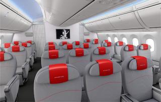 DIMMERE: Dreamlineren har verdens st�rste flyvinduer - de er s� mye som 65 prosent st�rre enn vinduene i dagens fly. De blir utstyrt med elektronisk dimming i stedet for dagens �gardiner�. Illustrasjon: BOEING/NORWEGIAN