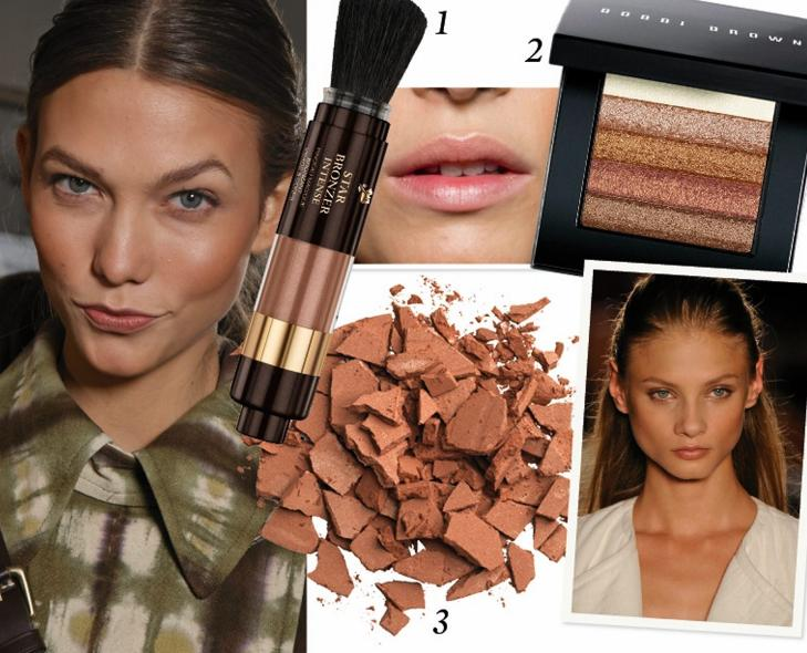 SOLPUDDER: 1. Lancome Magic bronzing brush (kr 325), 2. Bobbi Brown Shimmer Brick i fargen bronze (kr 380) 3. Max Factor Bronzing powder (kr 120). Foto: Catwalkpix / produsenten