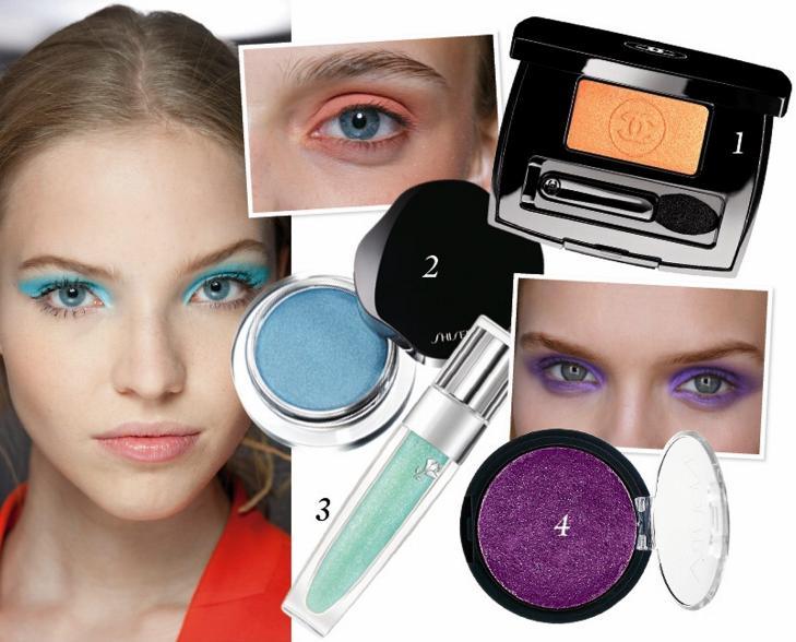 FARGERIKT: 1. Oransje �yenskygge fra Chanel Ombre Essentielle i fargen Tigerlily (kr 265), 2. Bl� kremskygge fra Shiseido Shimmering eye color i fargen ice (kr 250). 3. Lanc�me Color fever gloss i fargen green petal (kr 245) 4. Nouba Nombra eyeshadow i fargen lilac (kr 229). Foto: Catwalkpix / produsenten