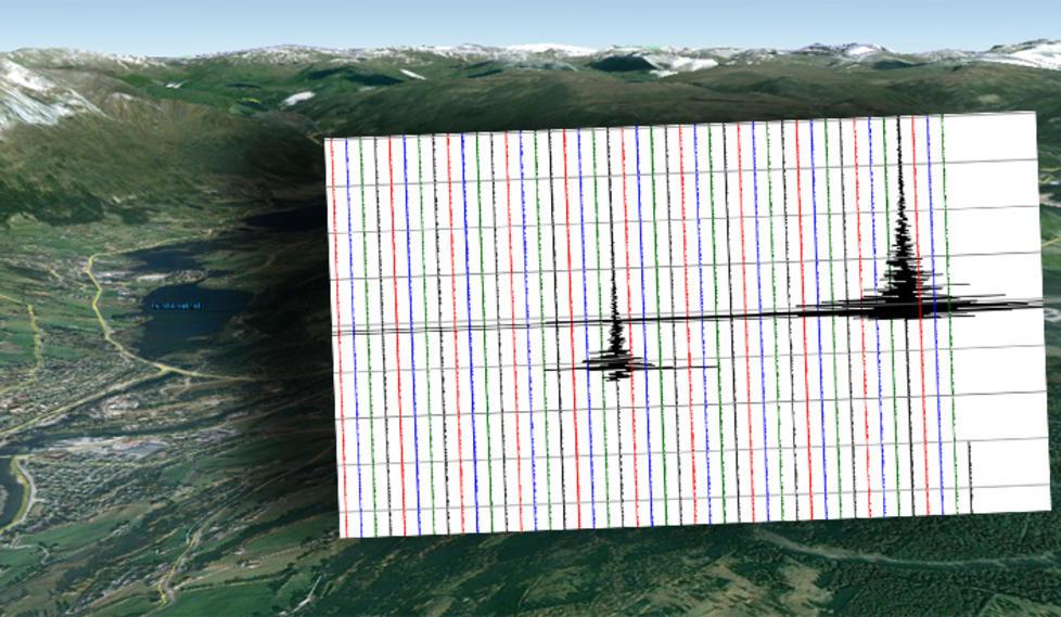 TO SKJELV:  Skjelvene som hadde en styrke p� henholdsvis 3,2 og 3,3 sl� kraftig p� de seismiske m�lingene. Graf: Norsk nasjonalt Seismisk Nettverk, Institutt for geovitenskap, Universitet i Bergen/GoogleMap