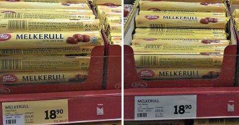SAMME PRIS: Bildet til venstre er tatt 19. mars og viser Melkerull p� tilbud. H�yre bilde er tatt 26. mars, prisen er den samme. FOTO: Ivar Folkedal