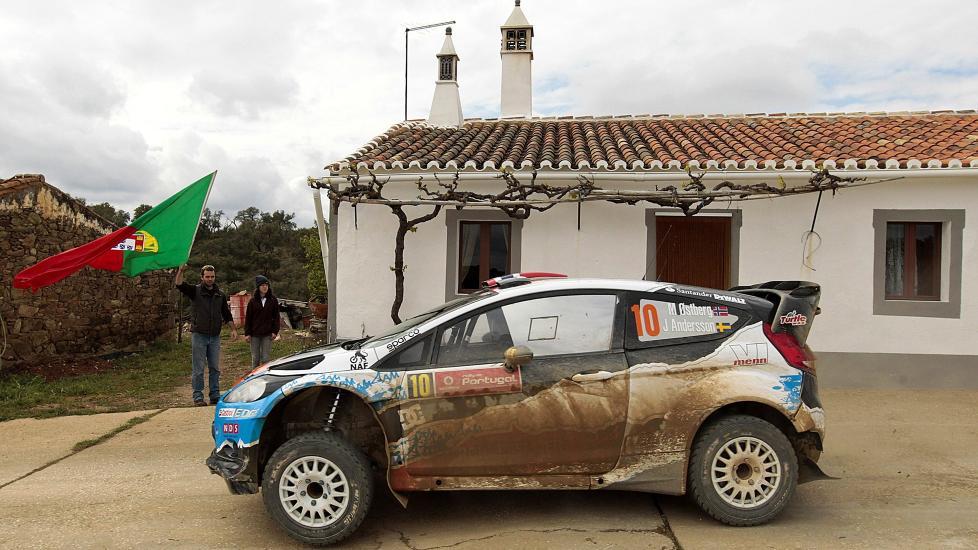 P� PALLEN: Mads �stberg endte p� en flott annenplass i Rally Portugal. Foto: EPA/LUIS FORRA/NTB scanpix