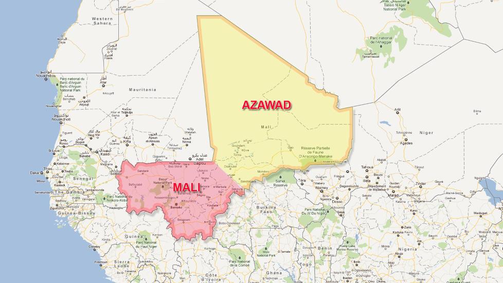 ERKL�RT UAVHENGIGHET:  De tungt bev�pnede Tuareg-oppr�rerne kunngjorde i dag at �staten� Azawad er l�srevet fra Mali. Kart: Google Maps / Dagbladet
