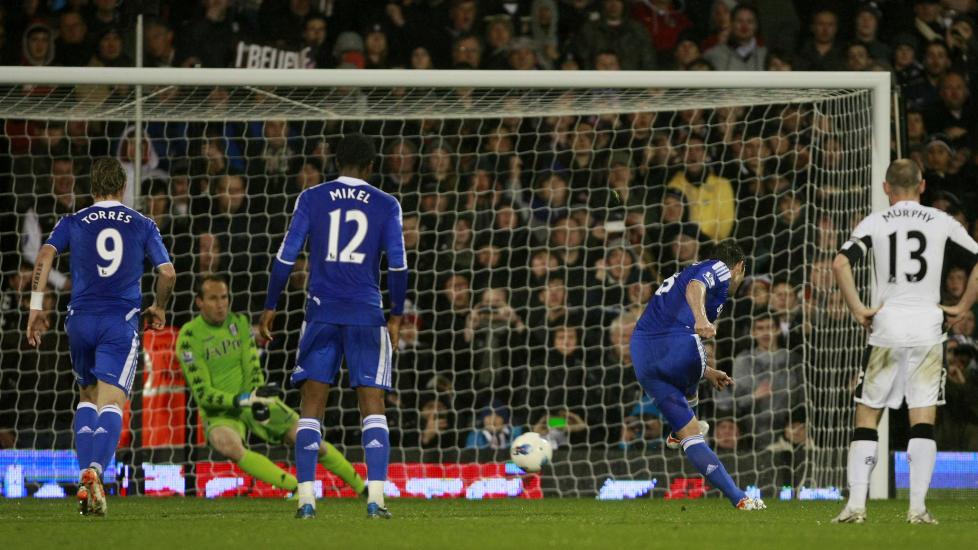 150: Her scorer Frank Lampard sitt 150. Premier League-m�l i karrieren. Det er selvf�lgelig mest av alle midtbanespillere opp gjennom �rene.Foto: AP Photo/Tim Hales/NTB scanpix