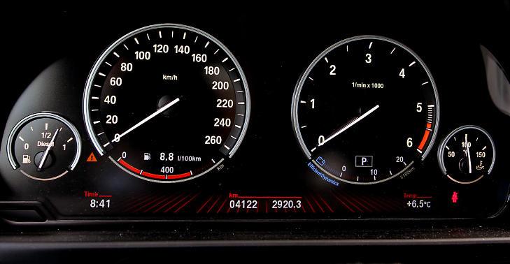 STILRENT: Det er ikke mye mikkmakk i BMWs instrumentdesign. Her f�r du all viktig info uten un�dvendig pynt. FOTO: Terje Bj�rnsen