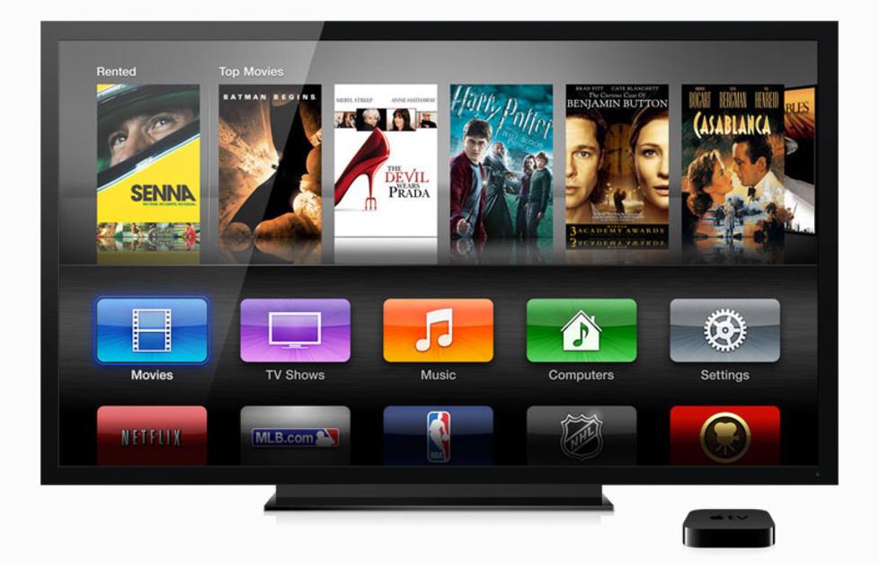 NY MENY: Ved lanseringen av nye AppleTV oppdaterte ogs� Apple menyen, noe som ikke alle har satt like stor pris p�. Denne menyen kan du ogs� f� ved � oppgradere programvaren p� forrige modell. Foto: APPLE