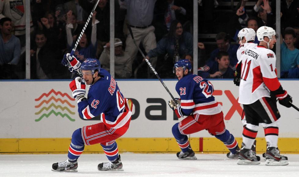SEIER:  New York Rangers vant sin første sluttspillkamp mot Ottawa Senators. Foto: Bruce Bennett/Getty Images/AFP