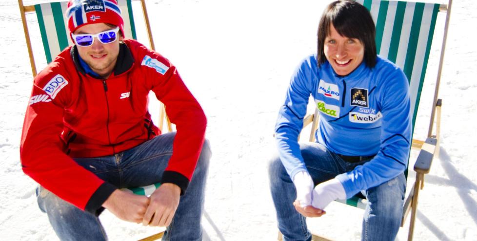 KOMMER TIL R�LDAL:  Petter Northug og Marit Bj�rgen skal kj�re storslal�m nedover i R�ldal og klatre opp alpinbakken p� langrennski. Foto: THOMAS RASMUS SKAUG