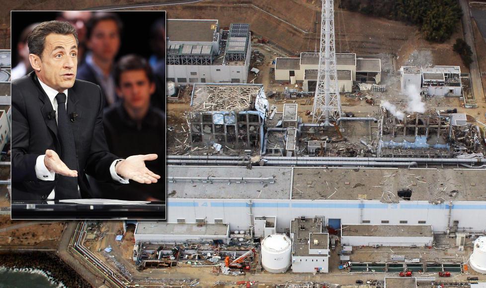 TABBET SEG UT: Nicolas Sarkozy m�tte innr�mme at bes�ket til Fukushima-anlegget var oppspinn, og at det bare var mij�vernminister Nathalie Kosciusko-Morizet som dro; selv kom han ikke lenger enn til Tokyo. Foto: EPA OG AFP / NTB SCANPIX
