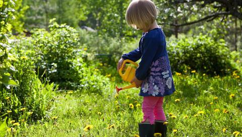 SPIRE OG GRO: Barn synes det er morsomt � f� hjelpe til med stell i hagen. FOTO: Colourbox
