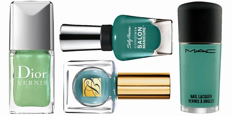 GR�NT ER SKJ�NT: Gr�nt og aqua-farger er en stor trend b�de p� mote- og neglelakkfronten denne v�ren. FOTO: Produsentene