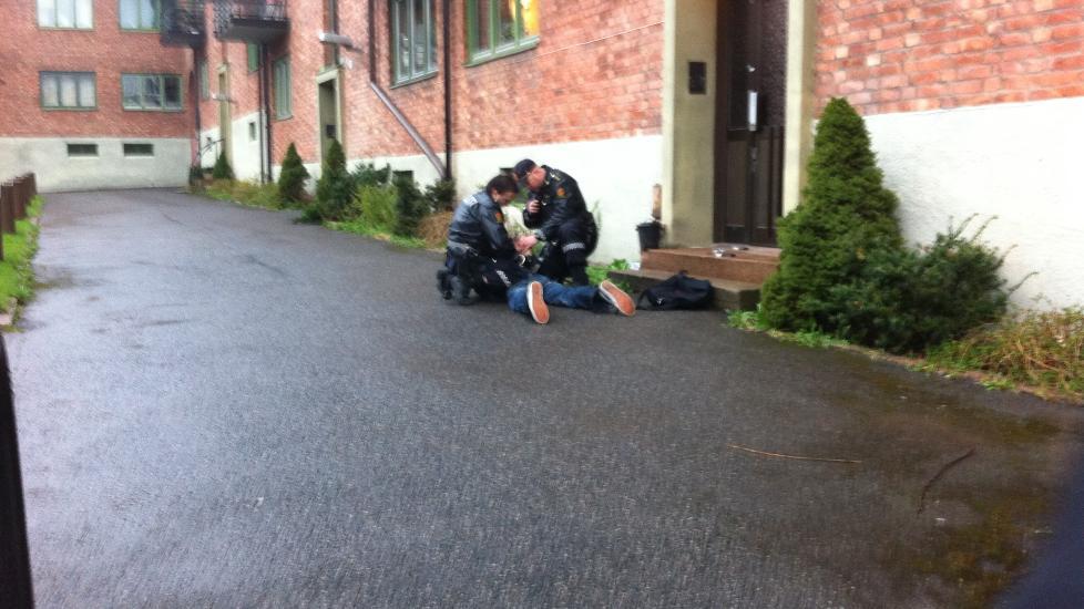 P�GREPET: Gjerningsmannen ble p�grepet like etter hendelsen. Foto: Eivind Skjervum