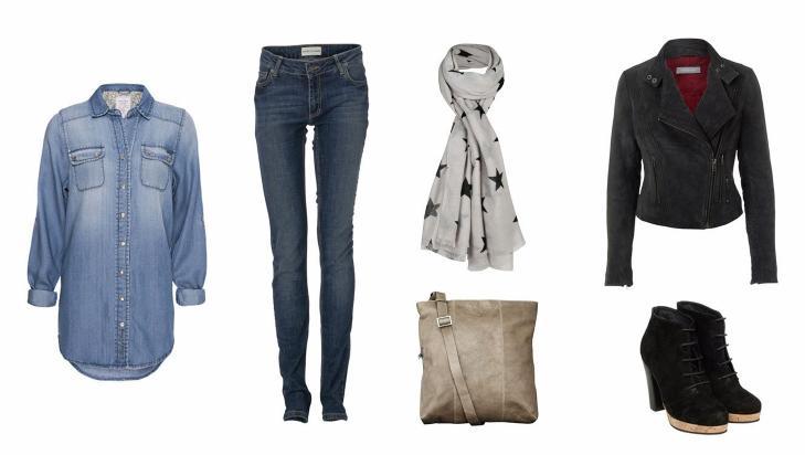 JOBB: Skjorte fra Moods of Norway (899 kr), jeans fra Sams�e Sams�e (1000 kr), veske fra Maani by Adax (1299 kr), skjerf fra Bik Bok (199 kr), skinnjakke fra Sams�e Sams�e (3900 kr), ankelboots fra Sams�e Sams�e (1800 kr). Foto: Produsentene