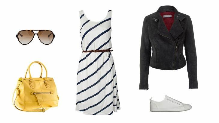 KAF�TUR: Veske fra H&M (299 kr), solbriller fra RayBan/Nelly.com (1495 kr), kjole fra Byoung/Nelly.com (399 kr), skinnjakke fra Sams�e Sams�e (3900 kr), sko fra Din Sko (299 kr). Foto: Produsentene