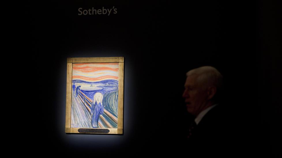 MUNCH-P�GANG:  Etter at �Skrik� ble solgt p� auksjon i New York for en uke siden, har Munch-museet i Oslo opplevd �kt p�gang og stor interesse rundt kunstneren bak bildet - Edvard Munch. Foto: Johannes Wors�e Berg