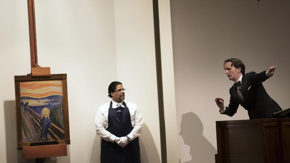 SOLGT: Skrik av Edvard Munch ble solgt for 107 millioner dollar p� Sotheby's auksjonshus i New York. Munch-maleriet ble i natt dermed verdens dyreste maleri.    Foto: Linda Forsell / NTB scanpix
