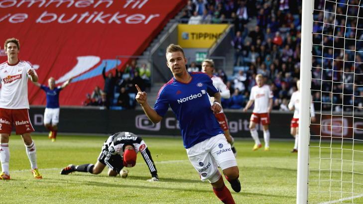 TOM�LSSCORER: Marcus Pedersen og V�lerenga eksploderte ut fra startblokkene og kraftspissen scoret to ganger i l�pet av de f�rste fem minuttene mot FFK.Foto: Erlend Aas / NTB scanpix