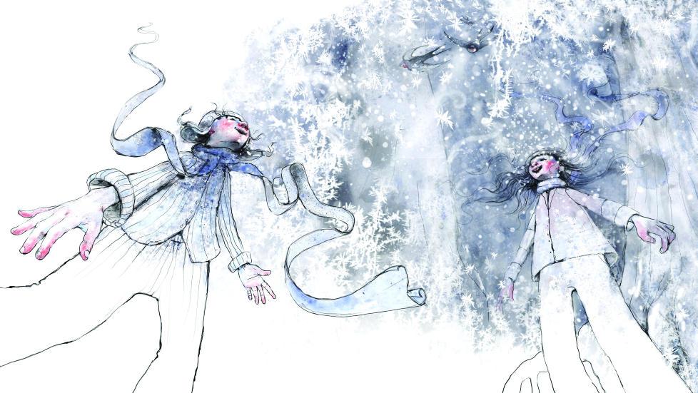 FINT SAMARBEID: Gaute Heivoll og illustrat�r Lisa Aisato har skapt en poetisk og varm fortelling i kalde farger. Illustrasjon: FRA BOKA