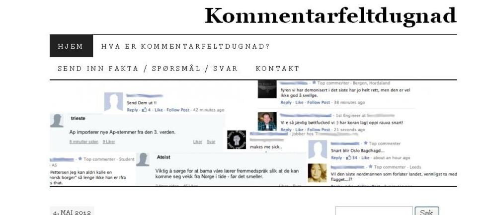 Foto: Skjermdump kommentarfeltdugnads hjemmeside.