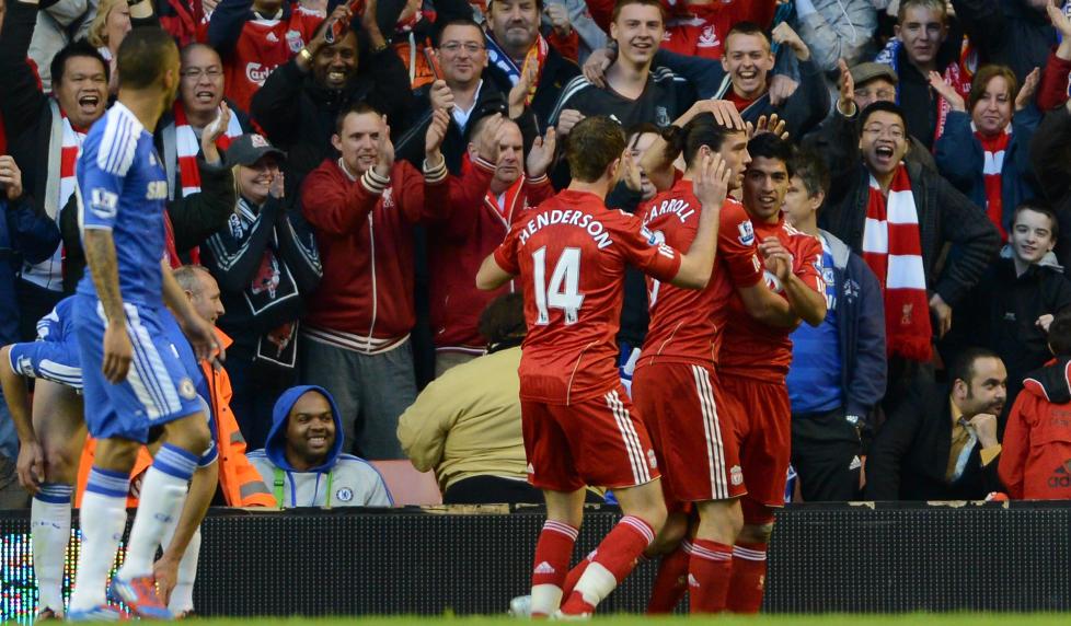 SCORET FIRE FOR F�RSTE GANG: Liverpool hadde ikke scoret mer enn tre m�l i en kamp i serien denne sesongen. Foto: AP Photo/Jon Super/NTB scanpix