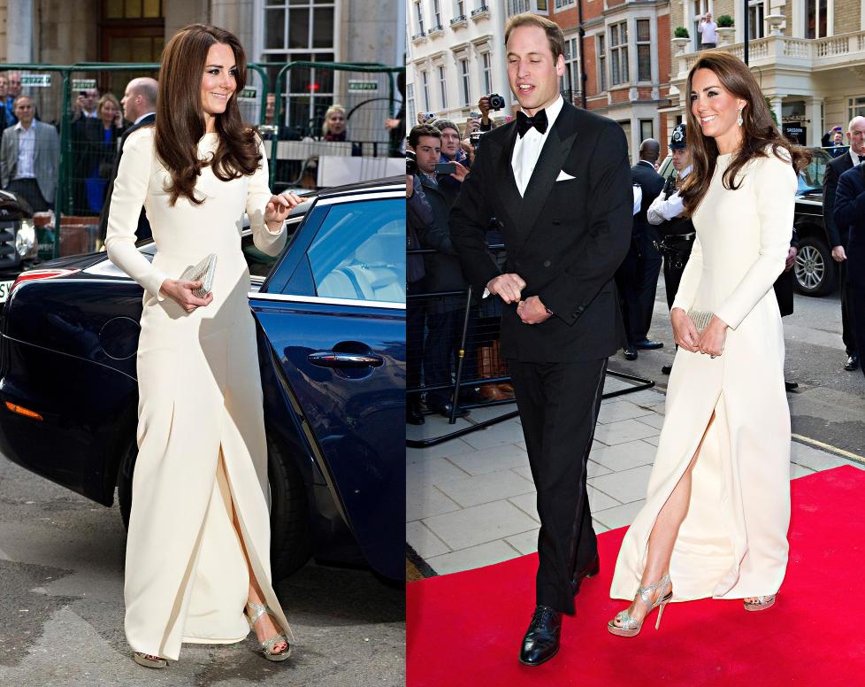 STR�LTE: Hertuginne Catherine av Cambridge lyste opp i denne langermede kjolen signert Roland Mouret p� vei inn til middag med ektemannen prins William og Thirty Club i London i g�r kveld. Foto: Scanpix