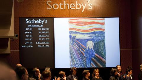 REKORDPRIS: Natt til torsdag forrige uke ble en versjon Edvard Munchs mest kjente bilde solgt for 120 millioner dollar. Foto: Johannes Wors�e Berg